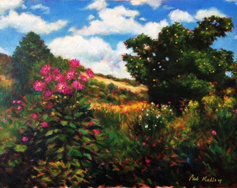 """Monet's Garden at Giverny, Original Oil Painting, Landscape, Flowers, 11""""x14"""""""