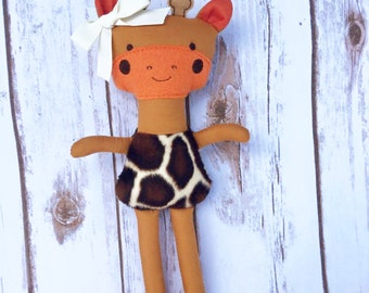 Handmade Stuffed Giraffe, Personalized, Custom