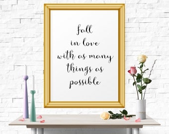 InspirationalQuote, Motivational Poster, Fall In Love.., Motivational Print, Office Art Print, Typography Print, Inspirational, Printable
