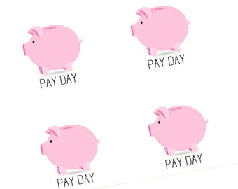 Piggy Bank Pay Day Printable Stickers for Erin Condren Planner Download PDF