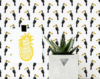 Tropical Wallpaper, Toucan Bird Wallpaper / Traditional or removable wallpaper L813