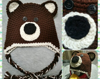 Baby Bear Hat / Made to Order / Custom / Any Size NB - 10 Years / Baby Boy or Girl Unisex / Baby Shower Gift / First Birthday / Photo Prop