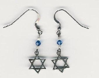 EW08001P-Earrings-Sterling Silver Star of David, links, & earwires with naturally aged patina, Austrian Crystal 1.75 in.