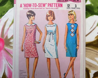 Junior Shift Dress Pattern (1965)  ~ Simplicity 6370 ~ Vintage Junior Size 11