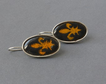 Enameled earrings, motif French Lily, in black & orange, oval, vintage jewelry, one of a child