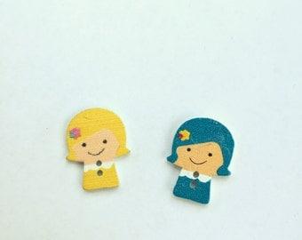 Girl Button - Blue Hair Wood Buttons - Blonde Hair Shankless Buttons- Craft Supplies Notions Scrapbook Buttons- Wooden Buttons Embellishment