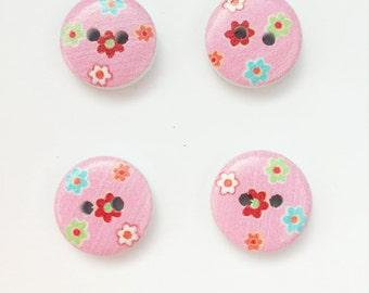 Pink Flower Button - Blue Floral Button - 15 mm Button - Half Inch Button - Floral Buttons - Pink Button - Small Button - Flat Back Button