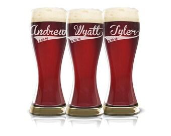 Tall Boy Personalized Beer Glass, Groomsmen, Best Man, Groom Gift, Bar Ware, Wedding Gift Men, Groomsmen Gift, Beer Glasses Pilsner glass