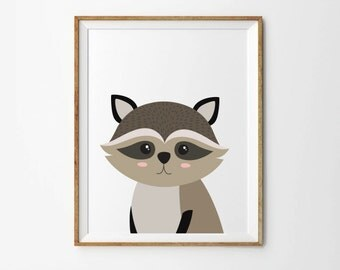 Racoon print, 5 x 7 in, 8 x 10 in, Nursery wall art, Toddler print, Kids print, Baby print, Kids room art, Nursery decor, Instant download