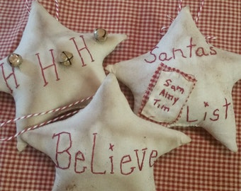 very primitive Christmas tree ornaments, primitive muslin ornaments, very primitive Christmas bowl fillers, primitive star ornies OFG FAAP
