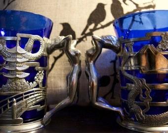 Art Deco Dragon Lady Blue Glass/Metal Stein