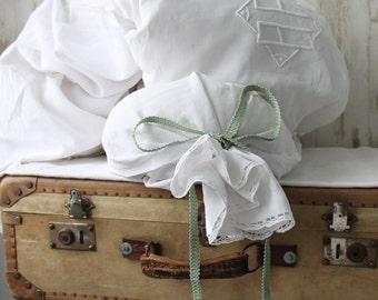 Antique bolster pillowcase in linen thread