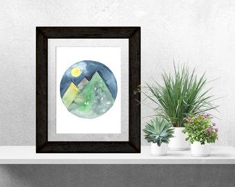 Mountain Watercolor, Full Moon, Abstract, Watercolor, Mountain Watercolor, Mountain Painting, Starry Night, Mountain Decor, Nature Art