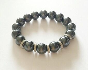 Hematite gemstone and 1.10 carat Pave diamond bracelet