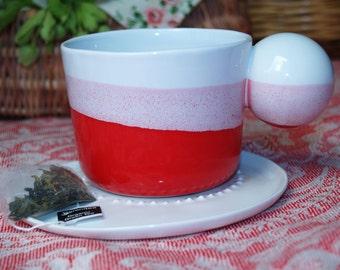 Cappuccino Cup, Ombre Mug, Dipped Colorful Mug, Coffee Mug Pottery, Pottery Mug, Contemporary Mug, Ceramic Drinkware, Porcelain Tea Cup