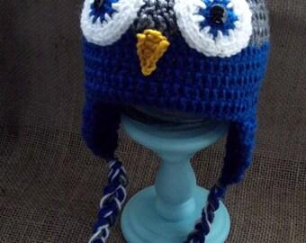 Owl Earflap Hat (Charcoal/Blue)