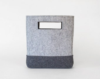 Wool Felt Handbag in Ash and Charcoal Gray | Felt Bag | Cutout Handbag