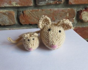 Soft Golden Brown Hand Knitted Mice