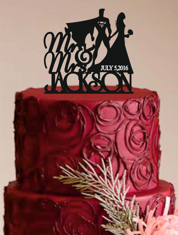 Superman Cake Topper Bride and Groom Wedding Cake Topper