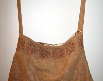 Light velvet handbag, color camel