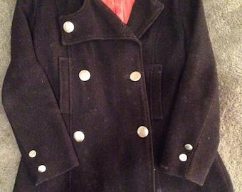 Vintage 1960's Women's Black Wool Pea Coat