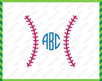 Baseball Stitches Monogram Frame SVG DXF PNG eps softball Cut Files for Cricut Design, Silhouette studio, Sure Cuts A Lot, Makes the cut