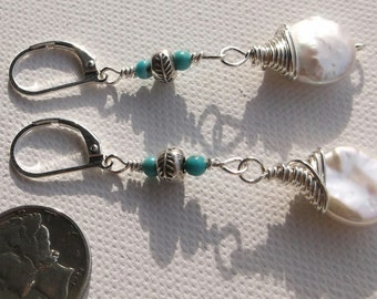 White Coin Pearl & Turquoise Sterling Silver Leverback Earrings Hill Tribe Accents 2.25""