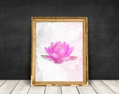 lotus flower art, lotus painting, lotus wall decor, flower art print, lotus wall art, lotus poster, lotus flower print pink watercolor lotus