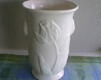 Vintage white ceramic tulip vase