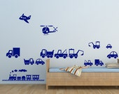 Vehicles - Train, Car, Digger, Truck, Plane, Lorry - Cut & Place 15 Vehicle Wall Stickers - Art Vinyl Decal Transfers - by Rubybloom Designs