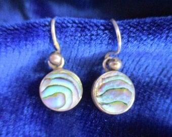 Vintage Abalone Shell Drop Earrings -  Sterling Silver Earrings  -  Abalone Shell   -  For pierced Ears