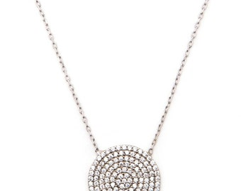 Small Silver Disc Necklace. 925 Sterling silver