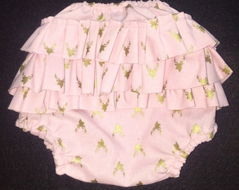 Deer ruffled baby bloomers