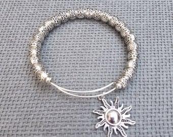 Metal Beaded Bangle, Thick Metal Adjustable Bangle Silver Tone, Customized Beaded Bangle, Beaded Bangle, Personalized Metal Bracelet