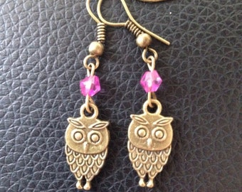 Owl pink earrings