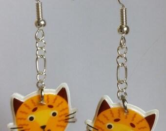 Cute Orange Tabby Cat Earrings