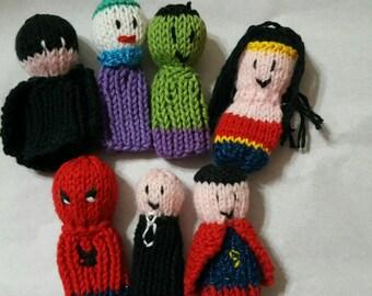 Knit super hero finger puppets set of 7!!!