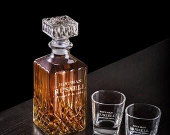 groomsmen gift, personalized whiskey decanter glass set, housewarming gift, groomsmen gifts
