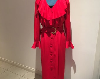 Vintage 1980's Bright Red Ruffle Dress