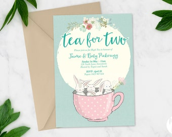 Printable Baby Shower Invitation | High Tea | Baby Shower Invite | DIY Printable | Tea for two invite | Teacup Bunnies