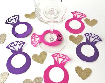 12+ Diamond Ring Drink Marker Name Tag He Put A Ring On It Charm Wedding Engagement Party Bridal Shower Decorations Wine Glass Champagne