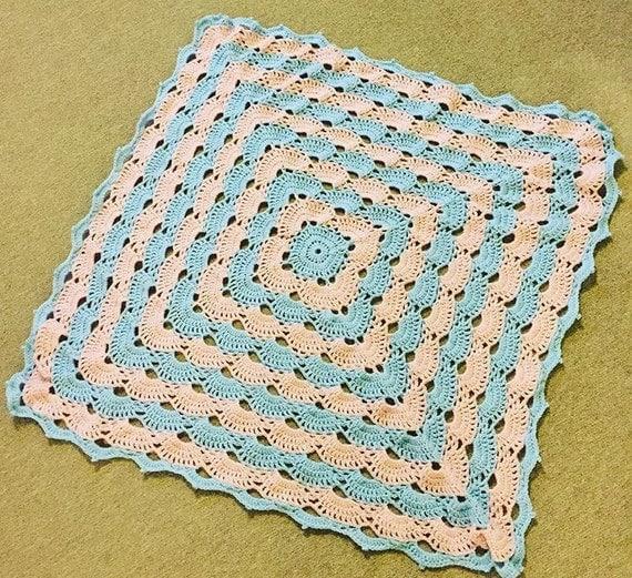Ready Made Unisex Crochet baby blanket shell/virus pattern