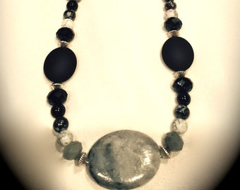 Grey and Black Stone Long Necklace with Silver Accents
