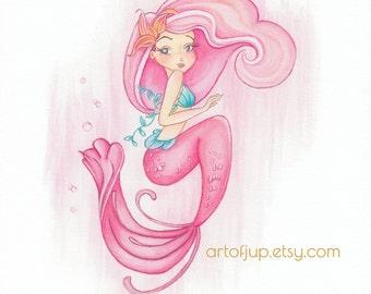 Mermaid art print, mermaid decor- Mermaid Rose wall art, pink
