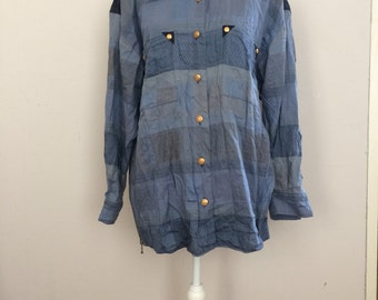Vintage blue shirt, Cowboy shirt, western shirt, button down, shirt with fringes, cowgirl shirt, cris devi, save nature shirt