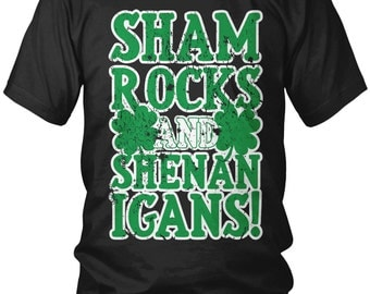 Shamrocks And Shenanigans Men's T-shirt, 4 Leaf Clover Shirt, Lucky Clover, Funny St Patricks Day Shirts, St. Patrick's Day Shirts, AMD_1350