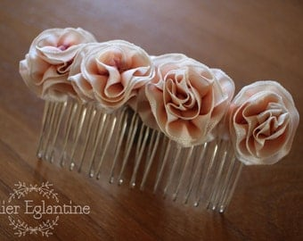 Married to flowers, ivory and pink comb