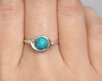 Turquoise Stone Ring, Wire wrapped ring, Turquoise blue magnesite Ring, Blue ring, Gemstone ring, Stone Ring, Turquoise Ring, Gift