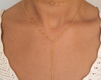 Diamond Choker and Y Necklace Set - Delicate Gold Choker - Dainty Jewelry - Layering Necklace - Boho Jewelry - 90s Choker