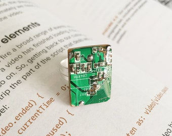 Ring, recycled circuit board, gift for her, geeky jewelry,nerd, techie, computer, engineer, handmade, modern, cool gift, smart, cute